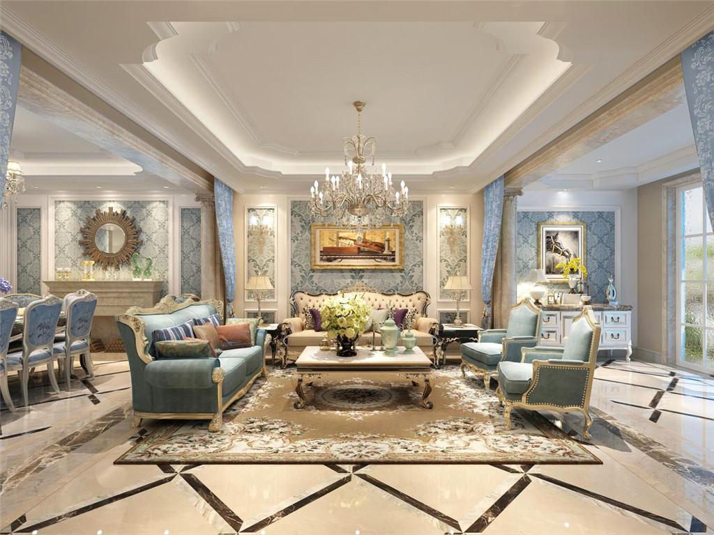 客餐厅开放式的空间设计加上大量使用的花卉与考究的碎花纹设计,精准传达出欧式风格的优柔华贵。精细的工艺和考究的细节传达出诗意与家的温馨。