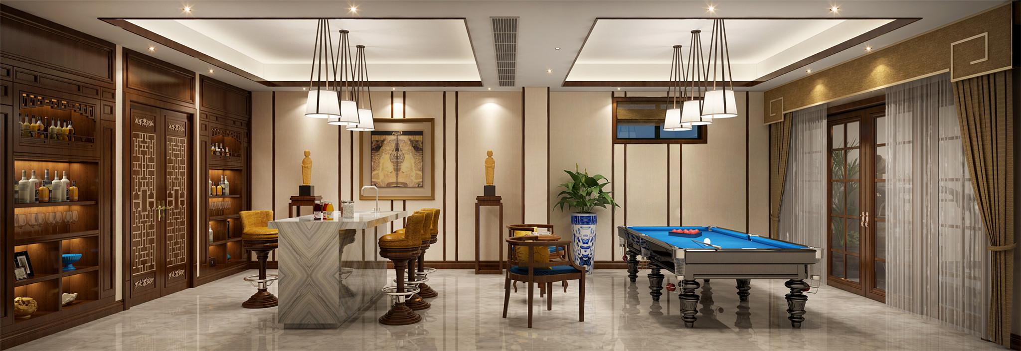 地下室水吧:桌球、水吧,惬意的交互空间,让每一天的悦享生活更加充实。