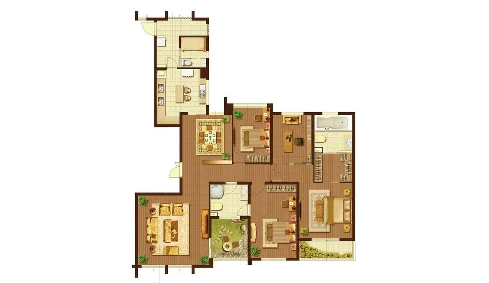 追求华丽、高雅的古典风格。居室色彩主调为白色。家具为古典弯腿式,家具、门、窗漆成白色。擅用各种花饰、丰富的木线变化、富丽的窗帘帷幄是西式传统室内装饰的固定模式,空间环境多表现出华美、富丽、浪漫的气氛。?