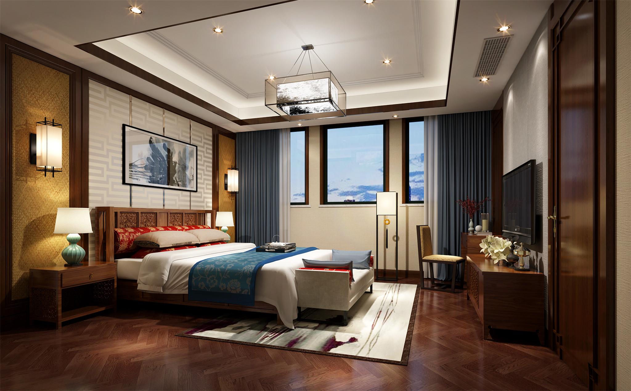 三层主卧室:实木与硬包背景让业主在都市生活后回归到家的温馨中