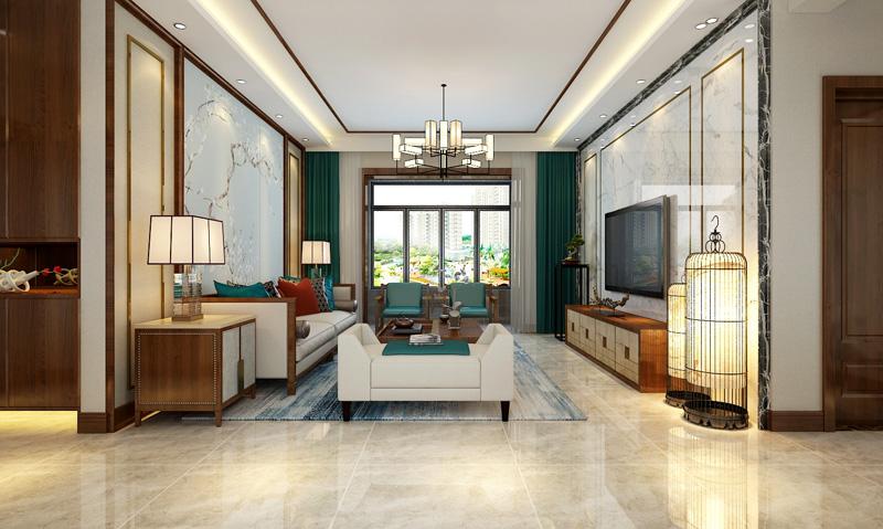 中国传统的室内设计融合了庄重与优雅双重气质。中式风格更多的利用了后现代手法,把传统的结构形式通过重新设计组合以另一种民族特色的标志出现。特点是对称、简约、朴素、格调雅致、文化内涵丰富,中式风格家居体现主人的较高审美情趣与社会地位。而且会在空间中摆放大量的装饰品。这些装饰品包括数量繁多的绿色植物、布艺、装饰画以及不同样式的灯具等。这些装饰品可以来自世界各地,但空间的主体装饰物还是中国画、宫灯和紫砂陶等中国传统装饰物。这些中式装饰物的数量不在多,但在空间中起到了画龙点睛的作用。客厅是传统与现代居室风格的碰撞,设计师以现代的装饰手法和家具,结合古典中式的装饰元素,来呈现亦古亦今的空间氛围。中式风格的古色古香与现代风格的简单素雅自然衔接,使生活的实用性和对传统文化的追求同时得到了满足。影视墙的造型简洁现代,却在醒目位置饰以中式书法,这种绝妙的组合给人以强烈的视觉意志力,成为时尚与古典的柔媚结合。