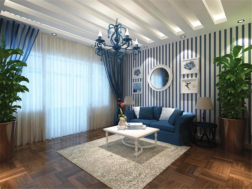 客厅顶面的双层欧式石膏线吊顶,使整个电视背景墙把客厅提升起来。沙发背景墙只做了简单的处理,刷的米色乳胶漆,配以欧式装饰画,做为装饰等,沙发选的是使用不同条纹图案的布艺,显得非常的有品位。 餐厅是家居生活的另一重要组成部分,不仅要美观,更重要的要有实用性,整体性。餐厅顶部做了个简单的石膏吊顶,餐厅墙做了个简单的处理,还是与客厅沙发墙相通铺的蓝白条色壁纸,其中一面墙做的假窗,更能凸显地中海的风情,使得整个餐厅不单调,餐桌上摆上一些餐具和酒,使餐桌上也并不空寂,可以增加一下就餐的餐厅情调。