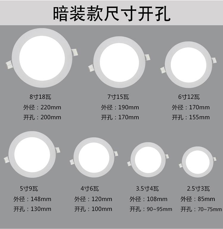 明装筒灯led吸顶灯客厅射灯嵌入式3w天花灯阳台走廊过道孔灯 18瓦圆形