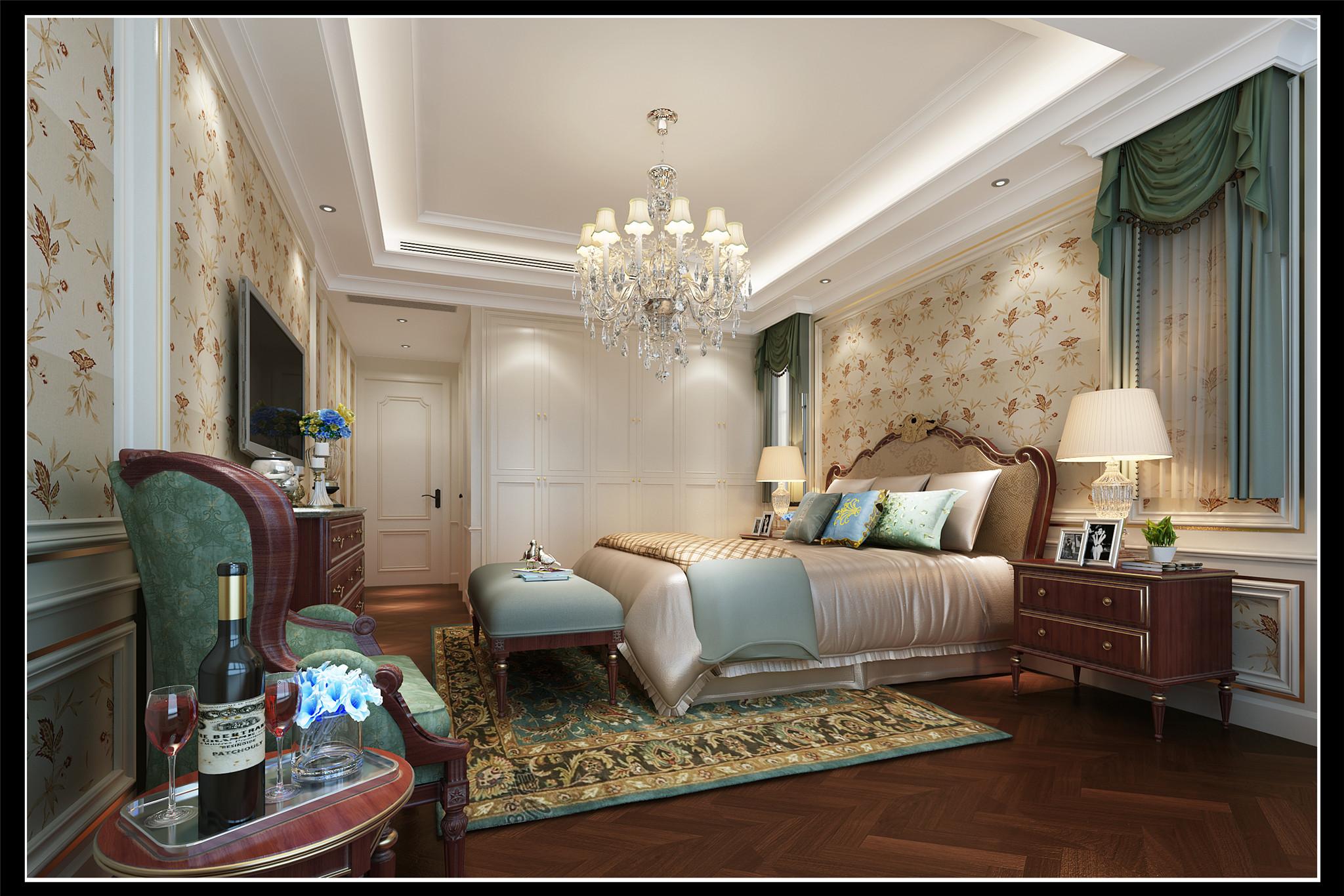 主卧:在法式特有的典雅融入宫廷的奢华感,从而迸发出另一种独特的浪漫风情。层层递进的色彩与造型,稳重而充满品味,灰绿色布艺的点缀,让环境无意间增添了更多的浪漫元素。