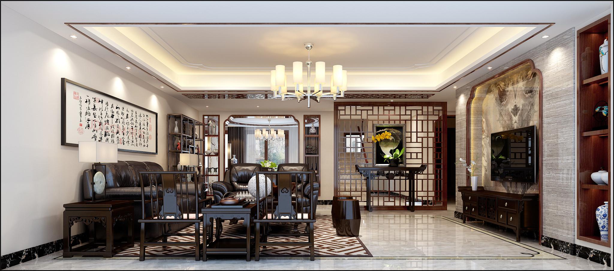 式风格在家居布局上讲究方正、对称的布局形式,讲究整体的布局和风水格调高雅,造型朴素优美,色彩浓厚而成熟。中式风格的装饰主要体现在传统的家具,再辅以字画、盆景,陶瓷、古玩、屏风等装饰品,最求的是一种修身、齐家的生活境界。在整体的色彩选择上以庄重的红黑为主,体现中式文化深沉、厚重的底蕴。中式风格在整体的布局上虽然最求对称庄重,而在细节上有更倾向于自然情趣、花鸟鱼虫等精细雕刻,取其美好的寓意来表现人们对美好生活的追求。