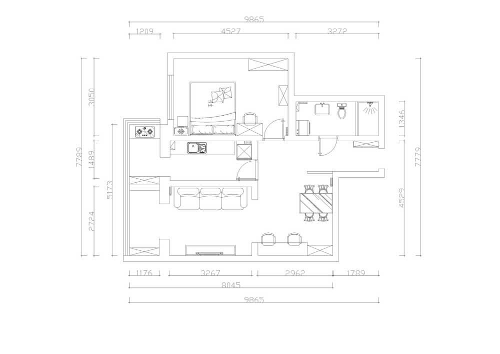 此户型为小户型,布局比较紧凑。进入入户门,右手边为卫生间,继续向前为卧室,厨房在卧室左边,且自带阳台。