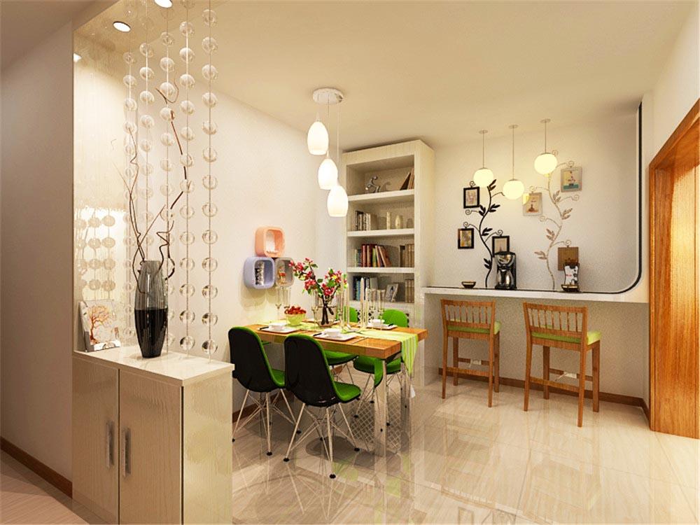 餐厅部分选用绿色的椅子,生机盎然,同时绿色能够有效促进食欲。旁边的吧台造型独特,黑白经典的碰撞,黑色玻璃向上延伸,拉伸了空间感。