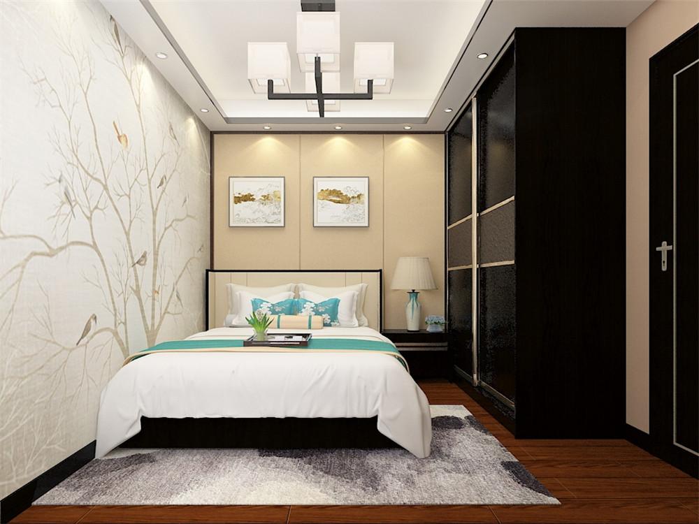 主卧为体现风格统一,在背景墙壁纸的选用上,与客厅电视背景墙选用相同风格色彩的壁纸,用中式装饰渲染卧室气氛。地板用实木复合地板。整个房间色调偏暖,带给主人一个温暖舒适的休息氛围。