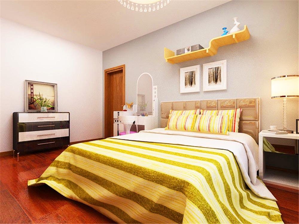 卧室整体色调较为温馨,灰蓝色的墙面降低了空间的温度,显得更为沉静,醒目的床品又使室内色彩活泼不呆板。