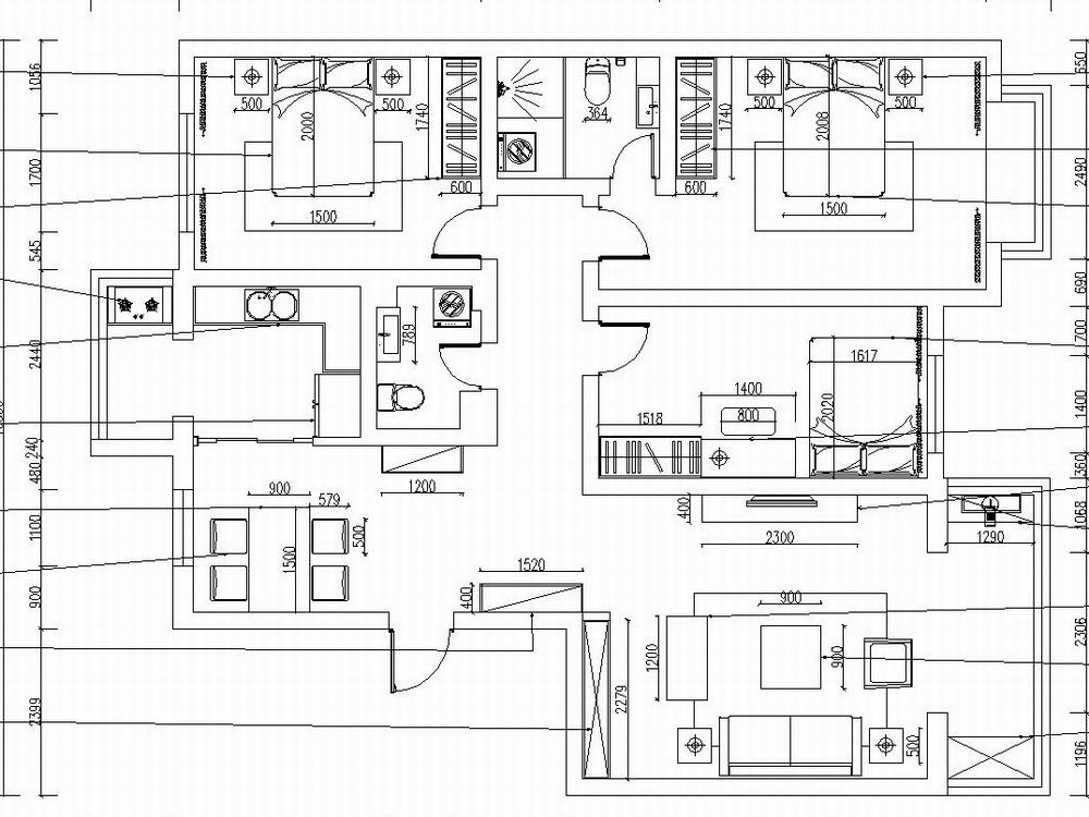 本案为南开区栖地小区146.72平户型, 三室两厅两卫, 从入户门开始,玄关和餐厅融为一体, 但餐厅和厨房的分区不明, 这再后期的方案中予以更正, 客厅面积很大, 采光很好,可以选用大型一点的沙发,三个卧室再面积上除了男孩房稍微小一些其他的也没问题,可以满足平时的使用生活, 以及储物空间。再后面的设计里,玄关做出的玄关墙面造型也成为本案一个亮点。