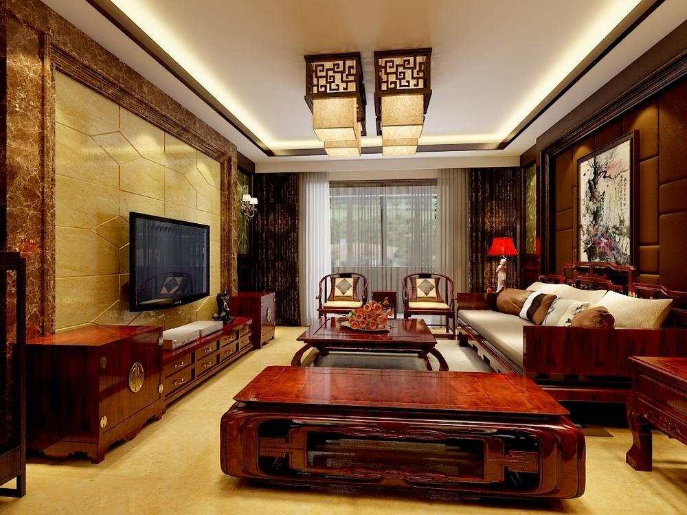 客厅的地砖、从颜色上也做了一个整体的搭配。色彩的协调,材质的搭配都起到了关键作用。业主喜欢中式家具,同时又追求简洁干炼。设计师采用新中式设计风格,将中式古典元素与浅啡网石材,雅致壁纸相糅合,以及一些直线条的运用,使得空间简洁不失尊贵。