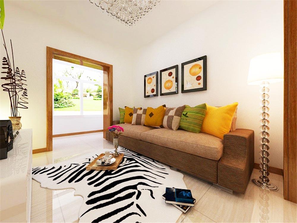 客厅的沙发选用深色布艺,压制了白色的飘逸感,墙上的咖啡色装饰画与整体色调呼应。电视墙上的储物架选用绿色,使得沉闷的空间在色彩上具有跳跃感。