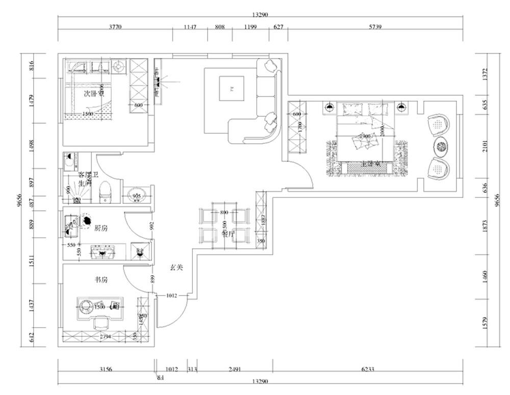 计说明 此户型为金地艺境三室两厅一厨一卫105㎡户型。风格定位为现代简约。
