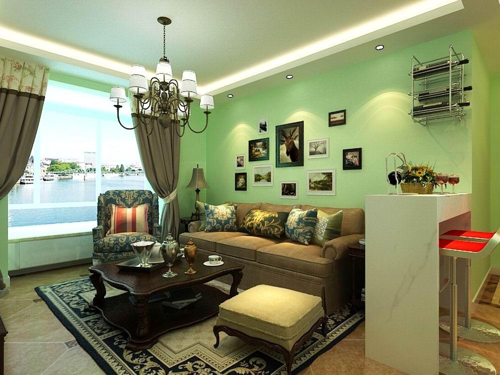 客厅的顶面为回字形吊顶,墙面采用了浅绿色乳胶漆,客厅的沙发背景墙挂了照片墙,沙发旁边放置了吧台,既可以满足娱乐,休闲的需要,也可以起到分割空间的作用。电视背景墙刷了墨绿色乳胶漆,在两边做了整体柜子,可以增加存储功能,进门处是通顶的衣柜,衣柜做成了白色,这样不乏现代气息,餐厅处摆放了卡座,这样可以节省了餐椅的位置,餐桌旁边是冰箱,餐厅背景墙也挂了照片墙,卧室也刷了浅绿色乳胶漆,卧室吊顶做了灯盘,在窗户旁边还放置了书桌。整体打造了一个让人舒适的休息空间。