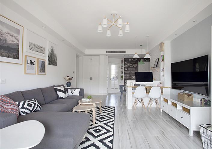 现代简约二居室84平米3.9万 华远辰悦装修案例 西安房天下家居装修网