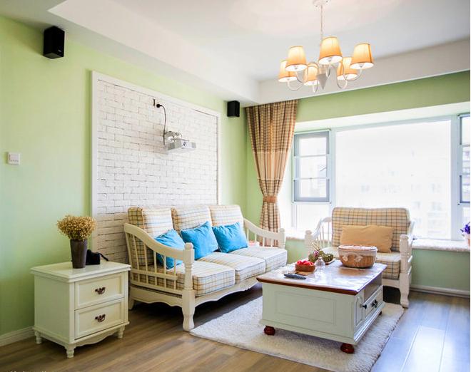 沙发背景墙设计师选择不规则质感的白色文化砖