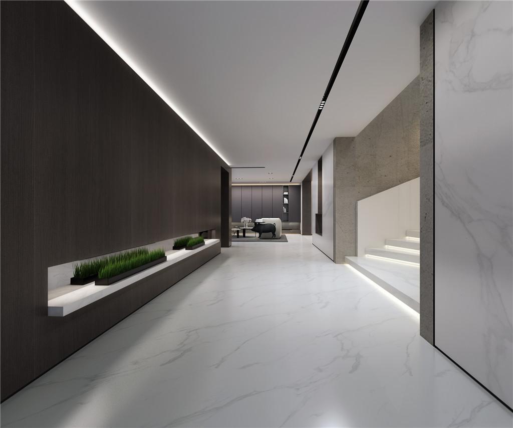 地下室(以深浅对比色为基调加上绿植点缀,让地下室空间没有压抑感)