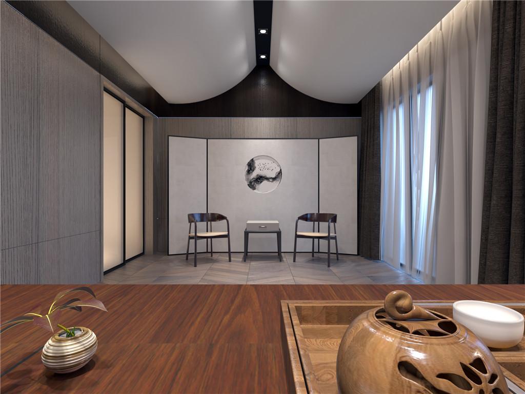 书房(中式飞檐加以提炼应用在顶面处理,结合屏风让整个空间安静中又很东方)