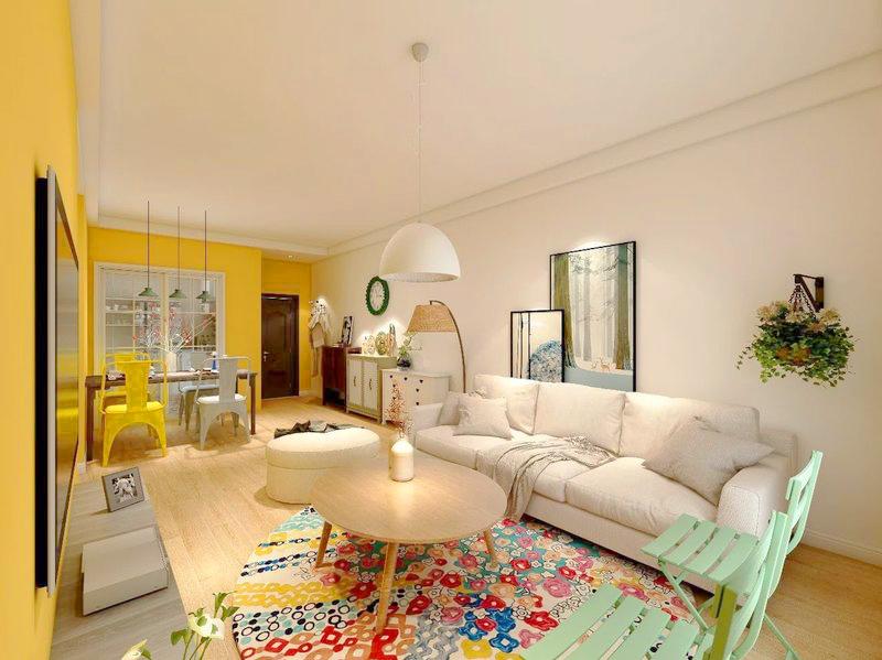 76平米二居室热门案例 现代简约半包4万!-万科城装修