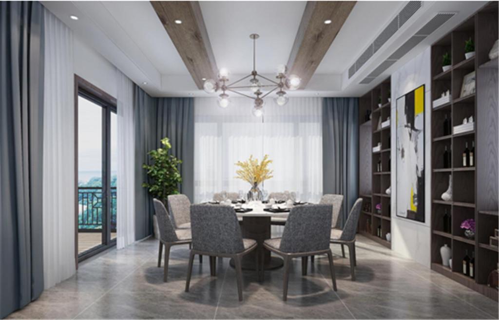 餐厅:现代的装饰吊灯以及窗外的美景,使得空间不再平凡无味。