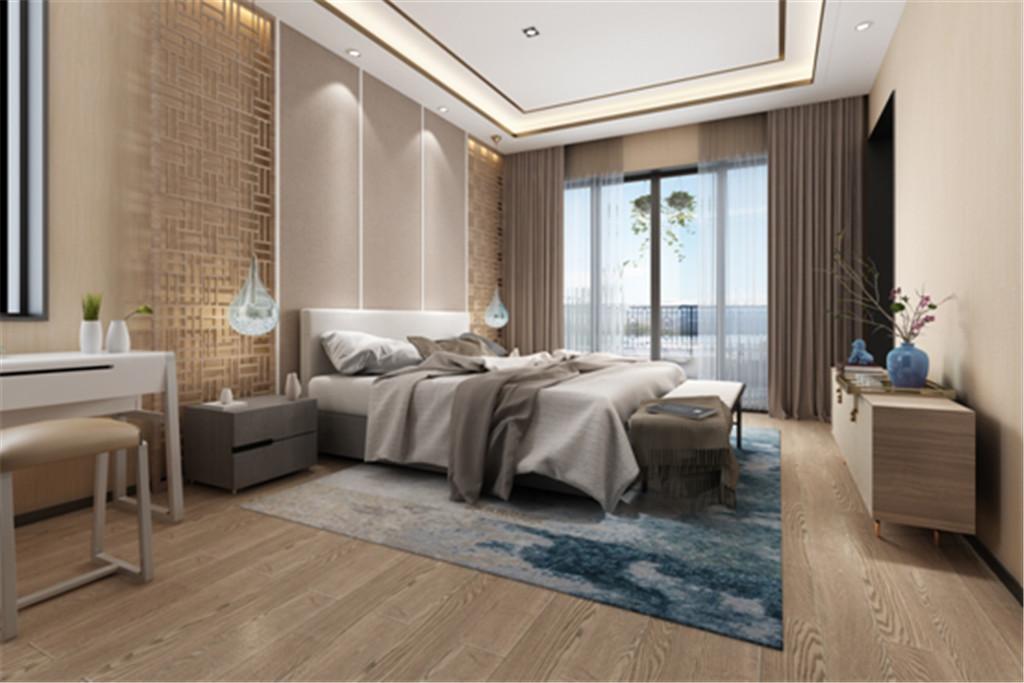 统一的色彩营造出和谐温馨的卧室环境,配上深色窗帘,镂空的木雕配上硬包的装饰背景。