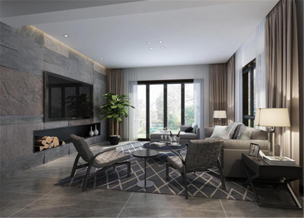 客厅:黑白灰交织中流露出精致沉稳的味道,打造出简约而不简单的空间。