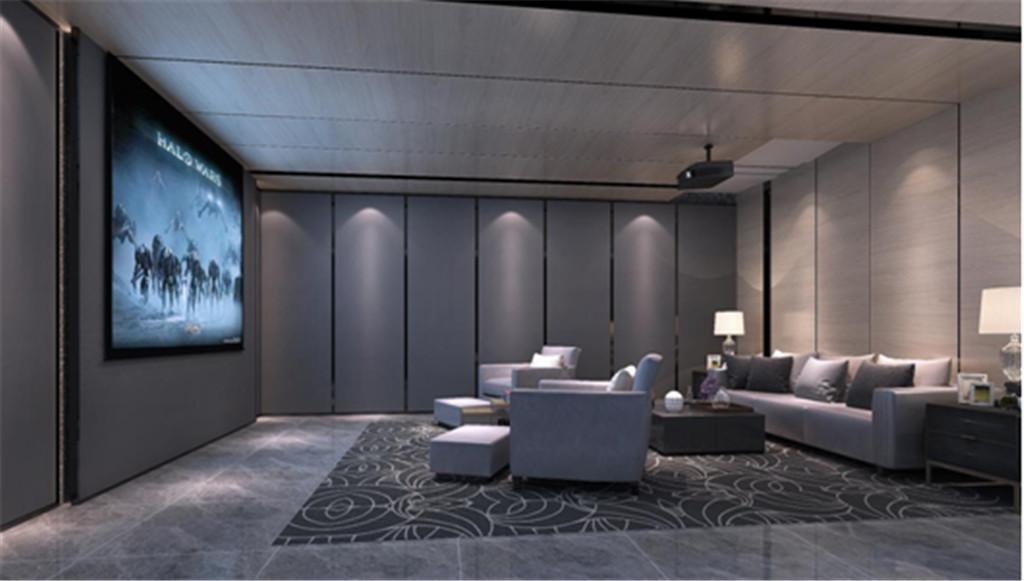 影音室:影音室采用大面的吸音板配合简易的线条让空间更加简易。