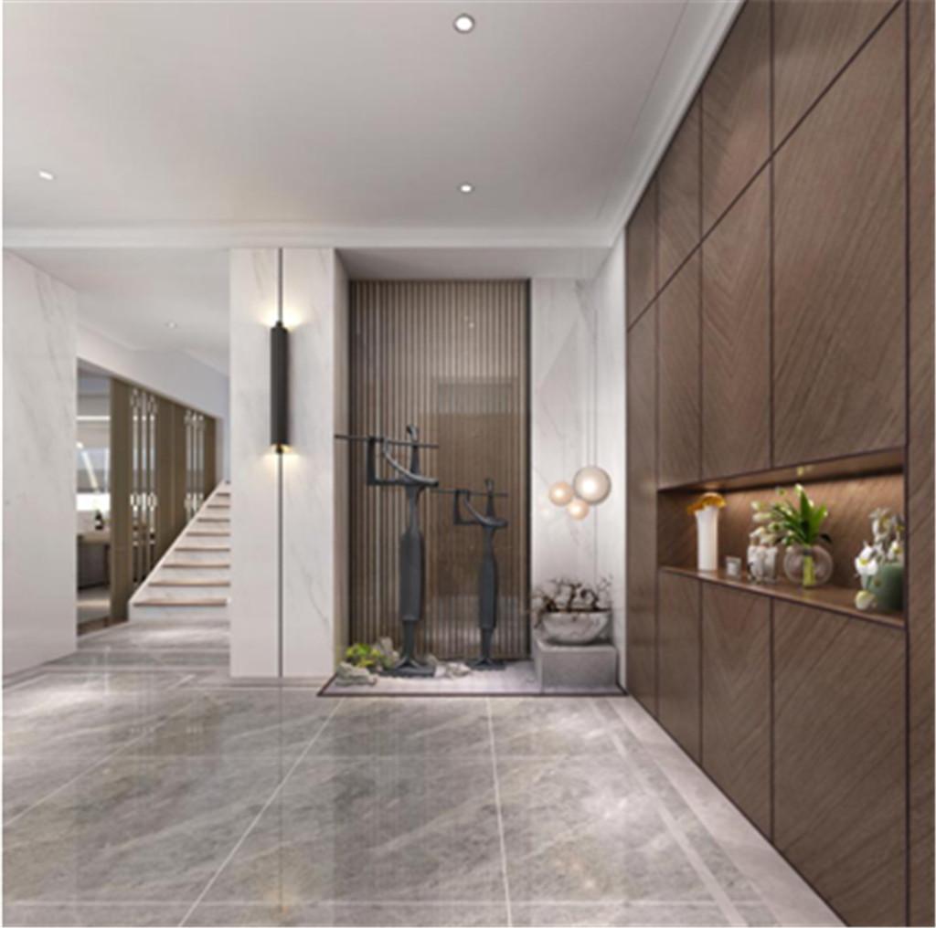 门厅采用白色大理石与木饰面的组合加以简易的吊顶使空间现代感十足。