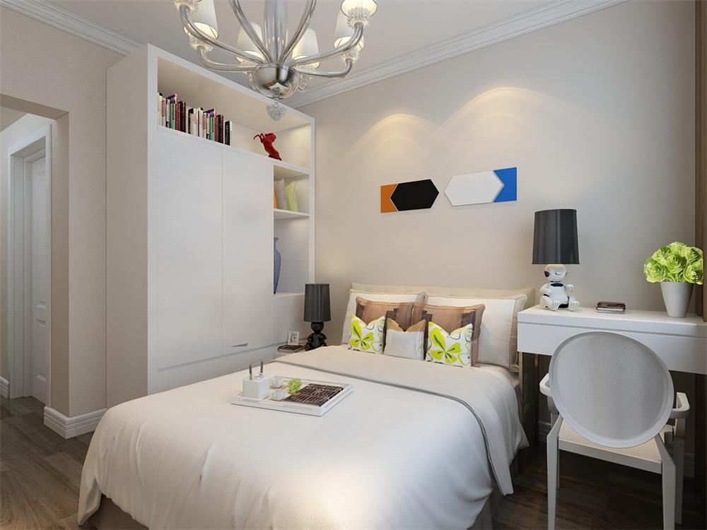 卧室简洁的几何图案的床品,家具均采用白色,设计简单大方,典型的现代风格卧室