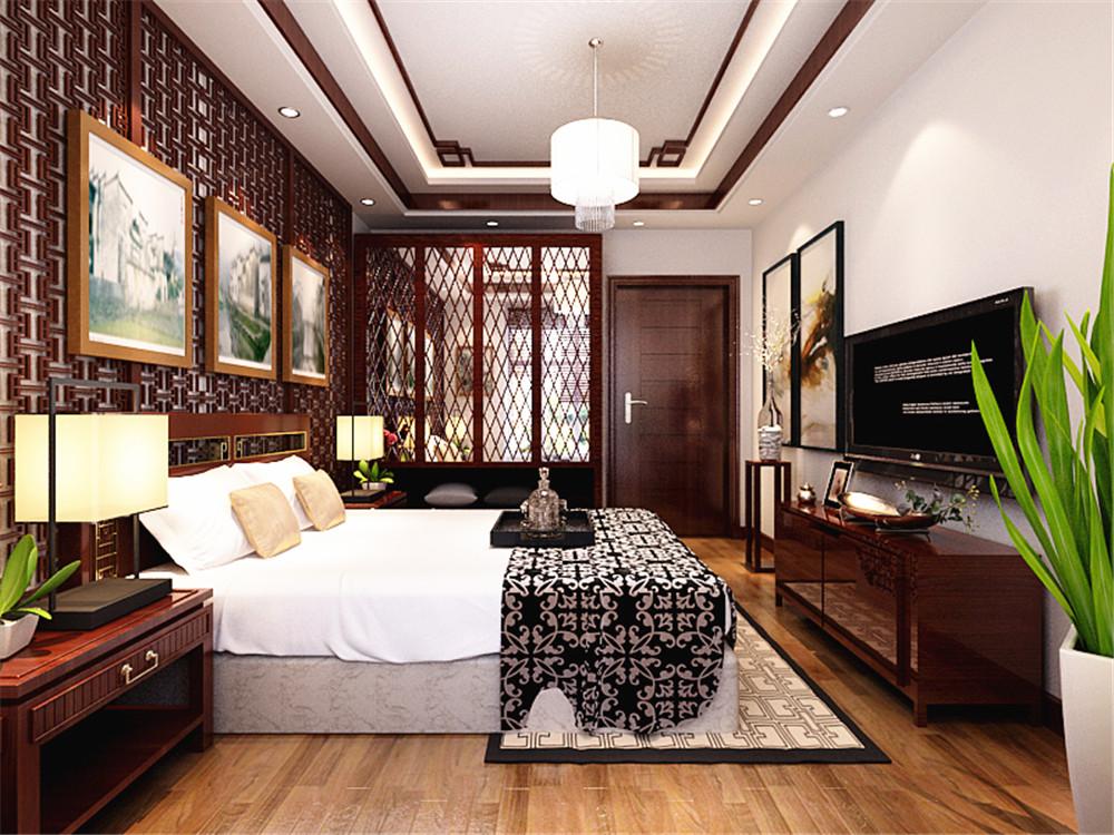 主卧背景墙才用镂空木纹雕花,低调又内涵,主卧空间放了多盆绿植,让空间充满生机。