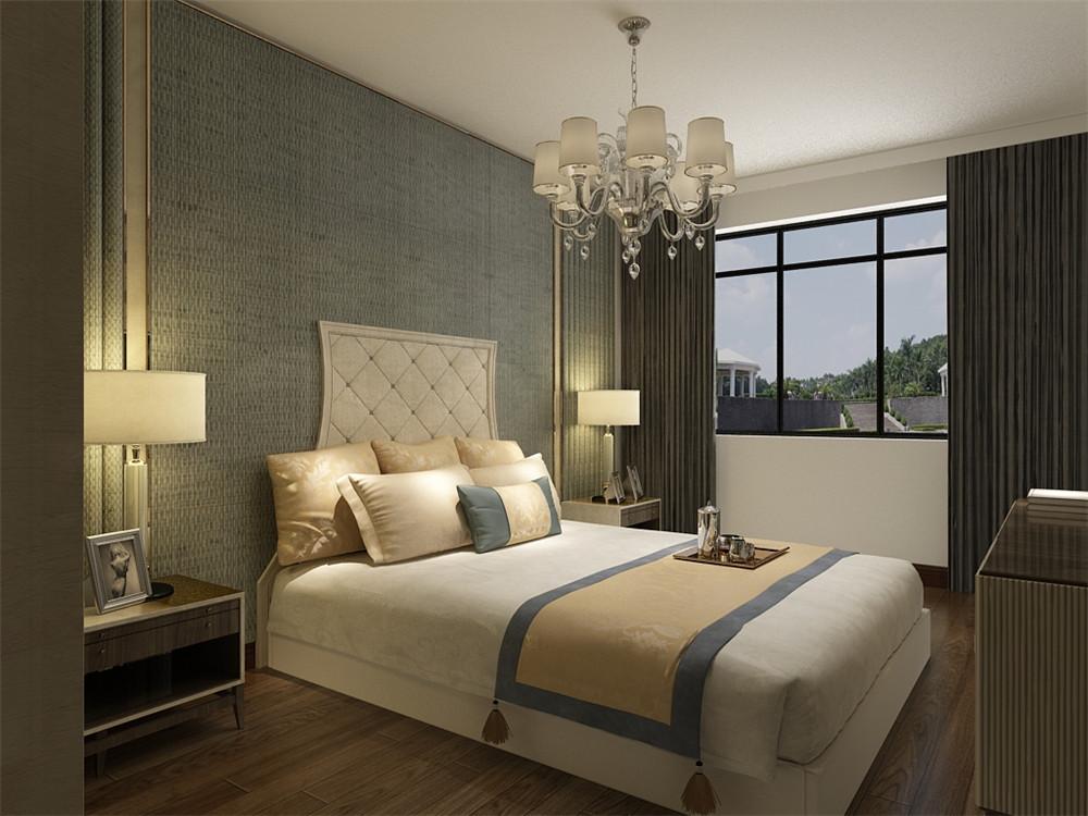 卧室也采用和客厅、餐厅一样简单的色系床,使整个设计更加协调