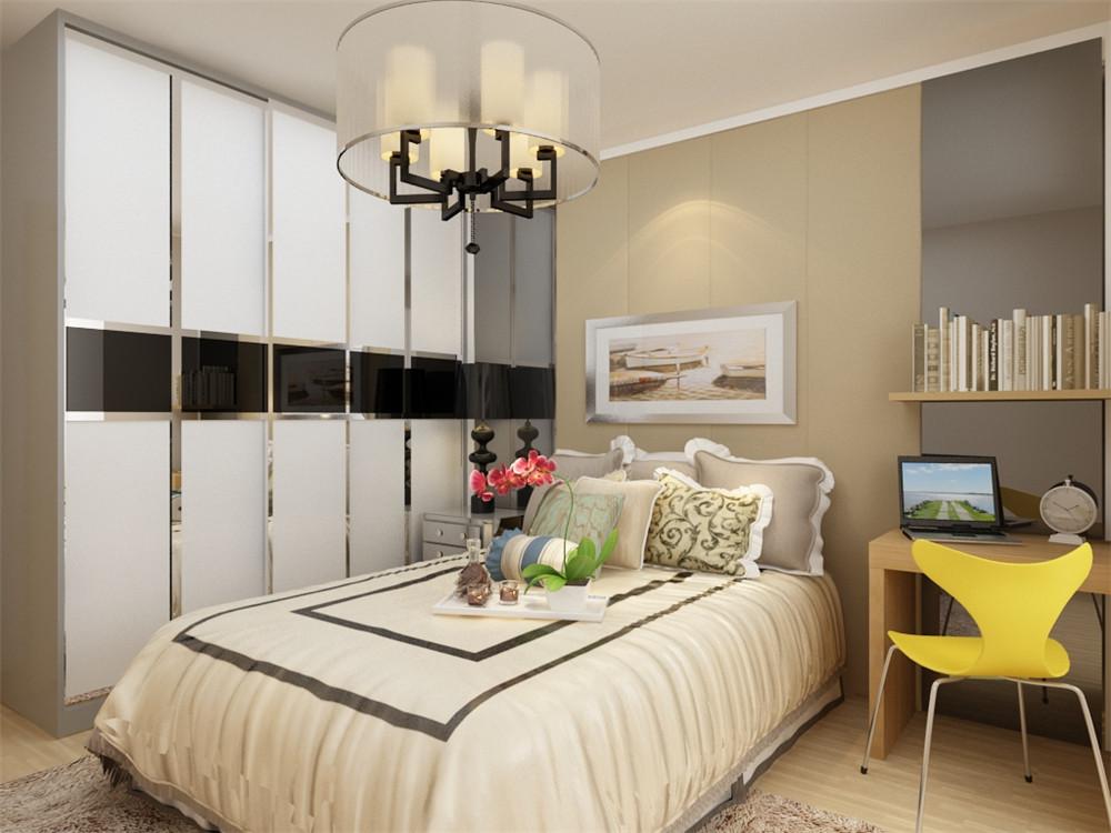 卧室采用的和客厅、餐厅不一样的简单的色系床,使整个设计更加协调
