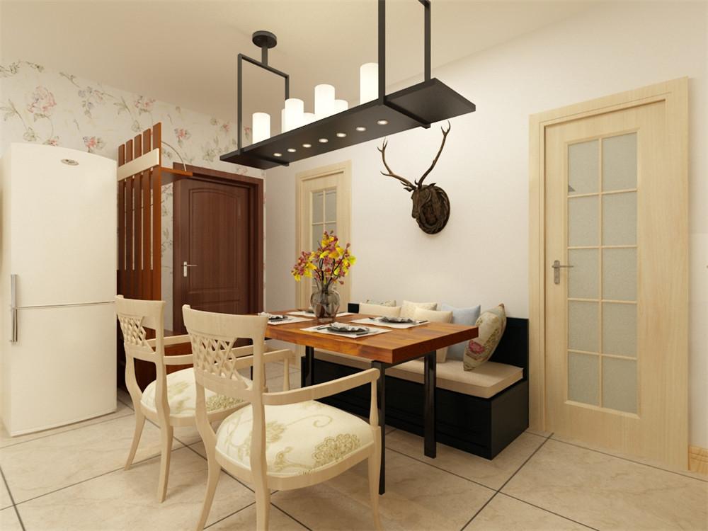 餐厅没有做过多的造型,简单的卡座与桌椅搭配,和客厅相呼应又不重复,虽然空间受限但业主仍可以请亲朋好友来家中聚会