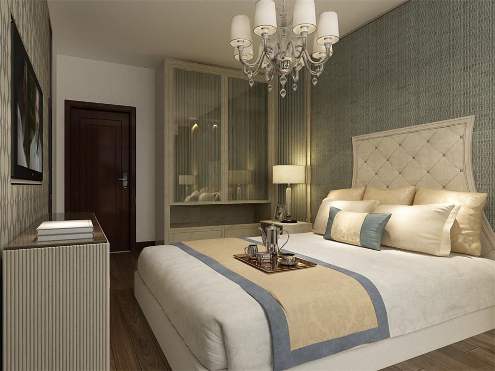 卧室选用了透明的衣柜,使空间更具有整合感,整个空间通透明亮,非常适宜居住。