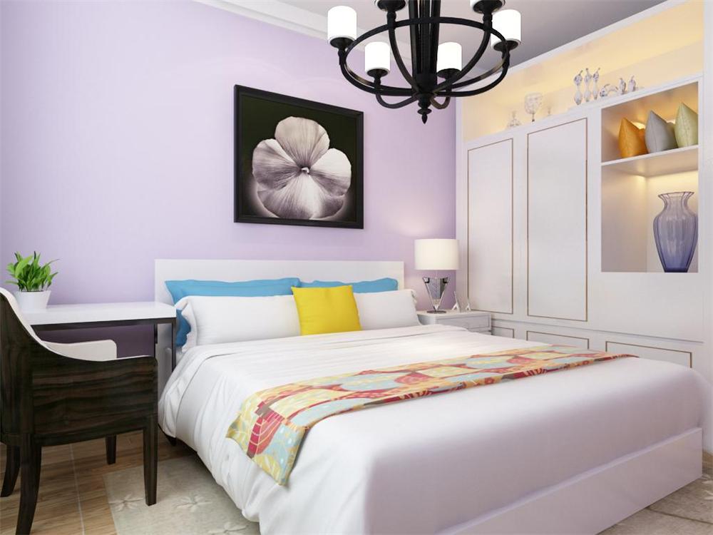 卧室整体温馨舒适,整体空间为淡紫色系,配以浅色的实木地板加上充足的采光使床头增加活力。让卧室更加魅力