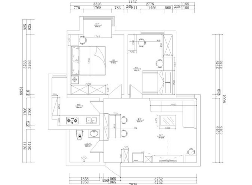 此户型为荔红花园 70㎡ 两室一厅一厨一卫户型
