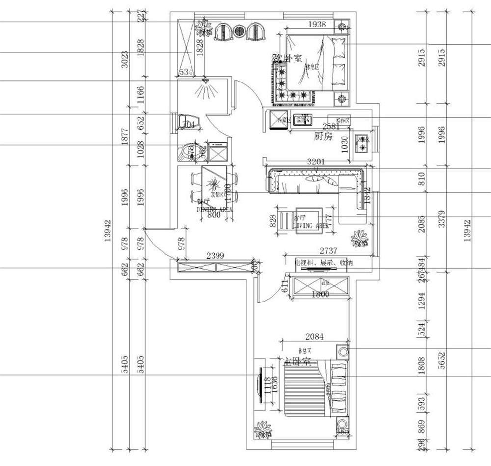 此户型是,象博豪庭90㎡2室2厅1卫