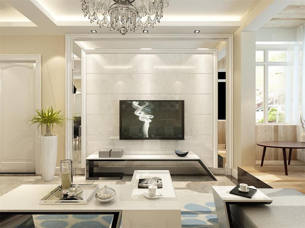 电视背景墙做了石膏线收边内加石材的设计,增添了整个空间设计性