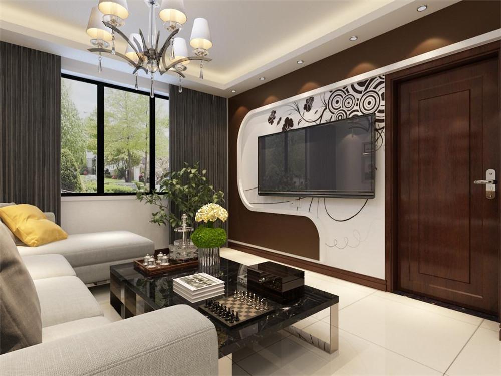 客厅设计讲究的是简约、稳重,深色的电视背景墙、深色的的茶几,沙发,餐桌使得整个空间即稳重又清新