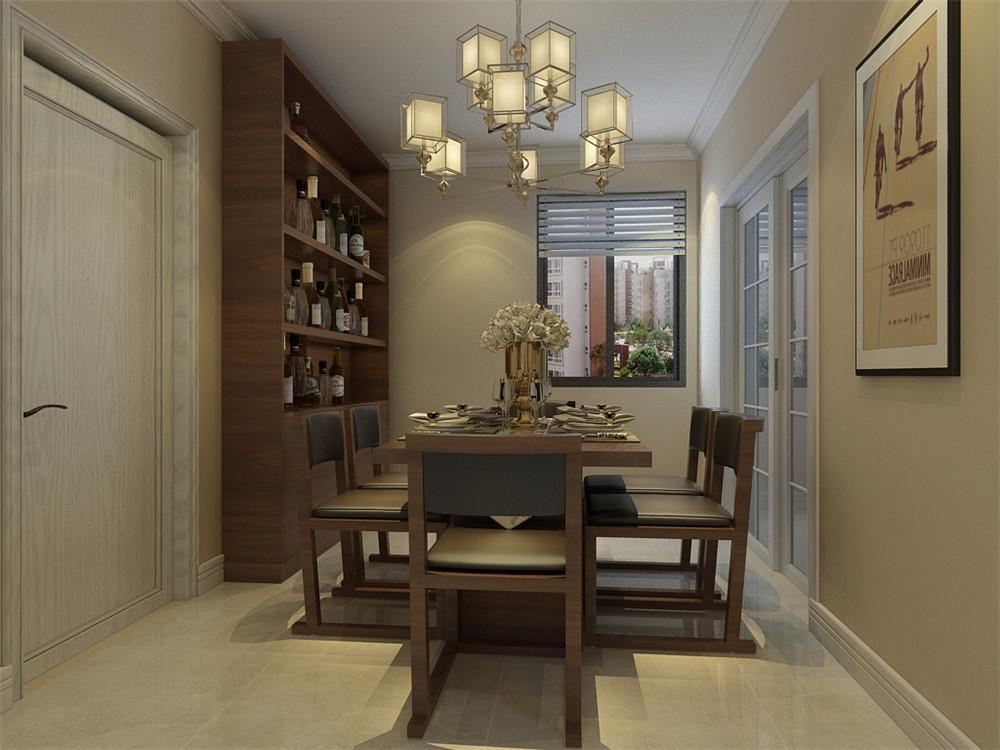 餐厅放置了四人位餐桌,搭配深色木质酒柜,在体现现代风格的简洁上也突出了业主的品位