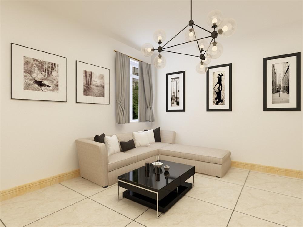 布艺的沙发为空间增添温暖简洁干净的气息,沙发的色彩与电视背景墙整个空间形成呼应。