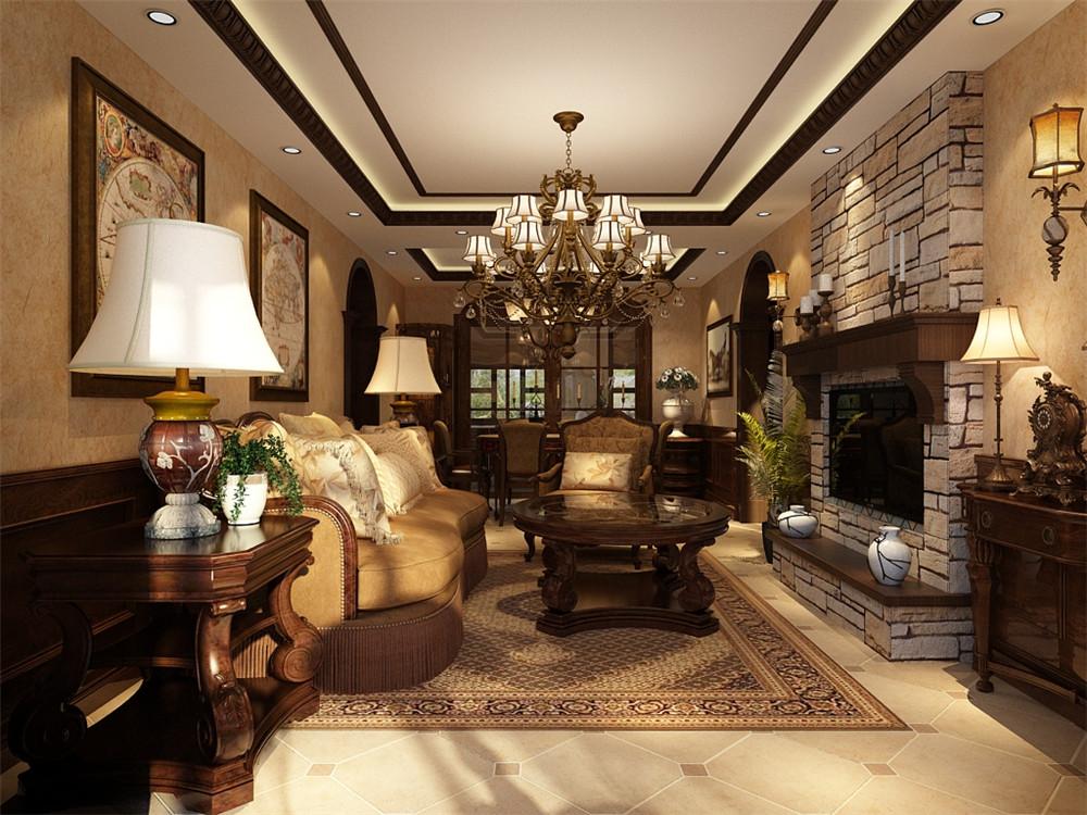 电视背景墙采用石材贴纸装饰。整体设计给人高档奢华,温馨舒适的感受。