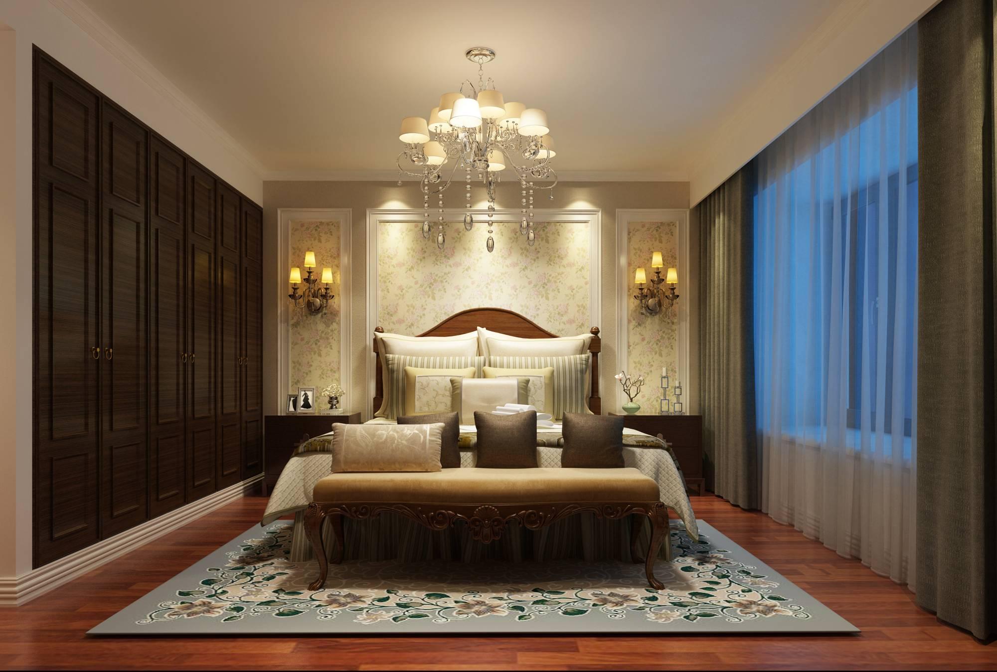 房子结构比较规整,房型结构为南北通透户型,根据空间更大利用做局部调整。本案定为新中式与简美风格的混搭风,以浅色为主,深色为辅。客餐厅修改后增加门厅出门厅的功能性,其次原始结构的卫生间较小,调整后更方便业主的使用。主卧采用简美风格,体现了主卧的空间感,美式家居的卧室布置较为温馨,作为主人的私密空间,主要以功能性和实用性为考虑重点,儿童房则体现的比较活泼。公共区新中式风格卧室区简美风格和谐的融合在一起,打造出一个既有中式韵味又有现代美式艺术的完美家居。 同时也采用对称性设计,体现出一定的协调性。从整体到局部精雕细琢,都给人一丝不苟的印象。