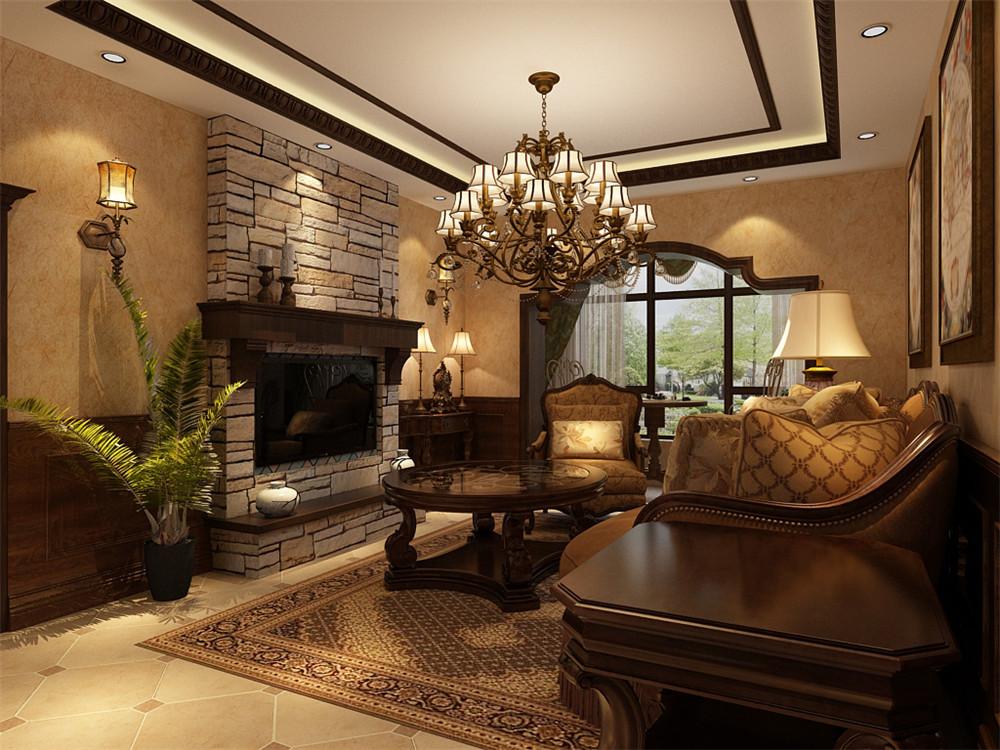 客厅地面采用强化复合地板,墙面采用浅黄色壁纸,运用回字形吊顶,突出空间的中心性。