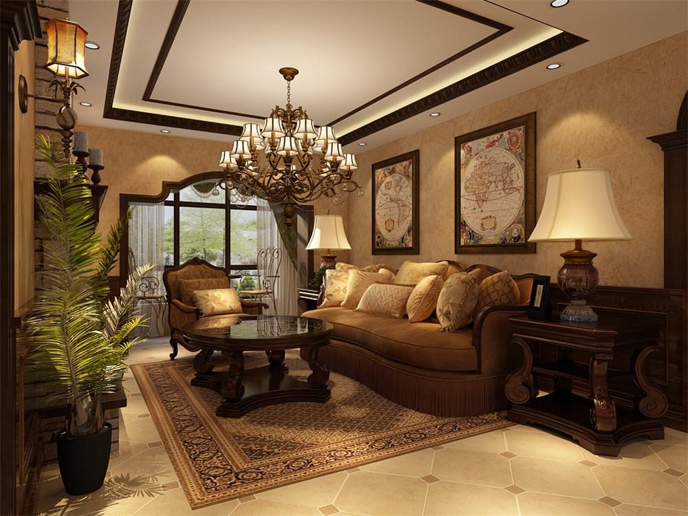 沙发背景墙放置两幅挂画,整个空间为暖色系,看起来更加温馨也不失大气
