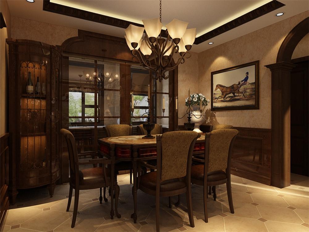 客餐厅整体空间配有深色实木墙裙,整体设计给人高档奢华,温馨舒适的感受