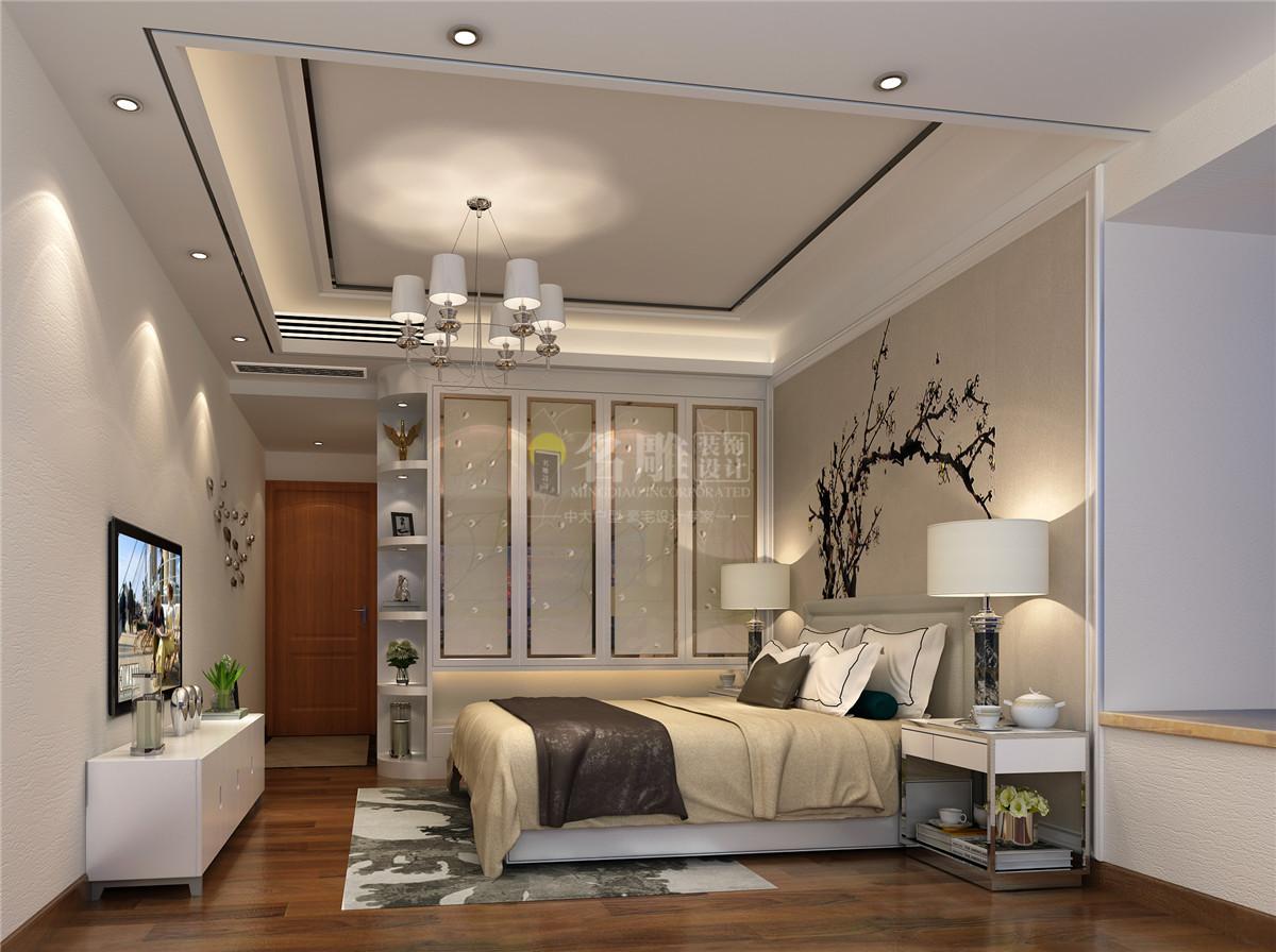 线条简洁的家具、到位的软装,上面的卧室是现代简约风格的经典作之一。床背后简单时尚的艺术墙布是现代简约派的代表产品。