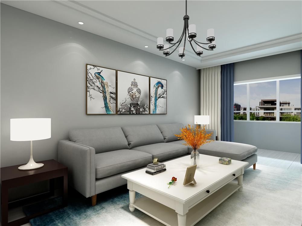 现代简约就是以简单为主要,客厅的沙发背景墙并没有设计过多复杂的设计,只是放个三幅装饰画,考虑到简约的空间搭配。