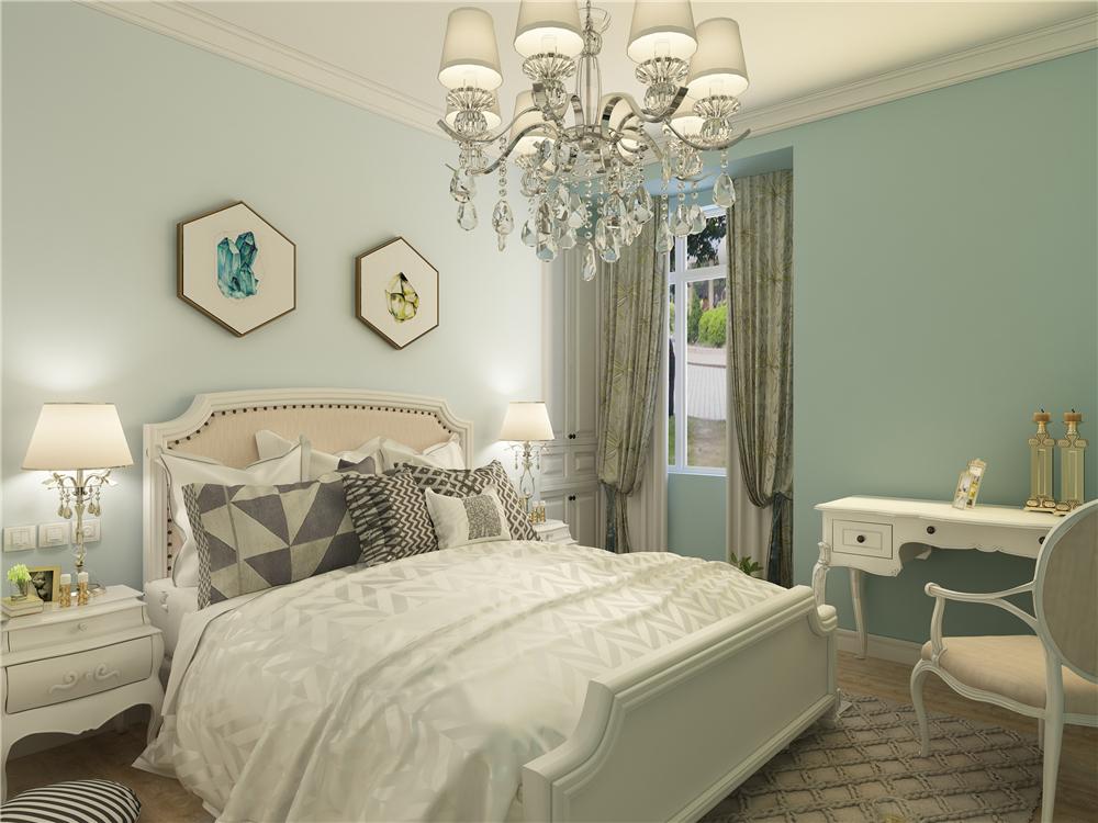 卧室空间都选择的也都是地板,形成统一也到达了简约,卧室其他空间没有复杂的吊顶,都是简单的平顶和石膏线做圈边,想让其空间显得更大。