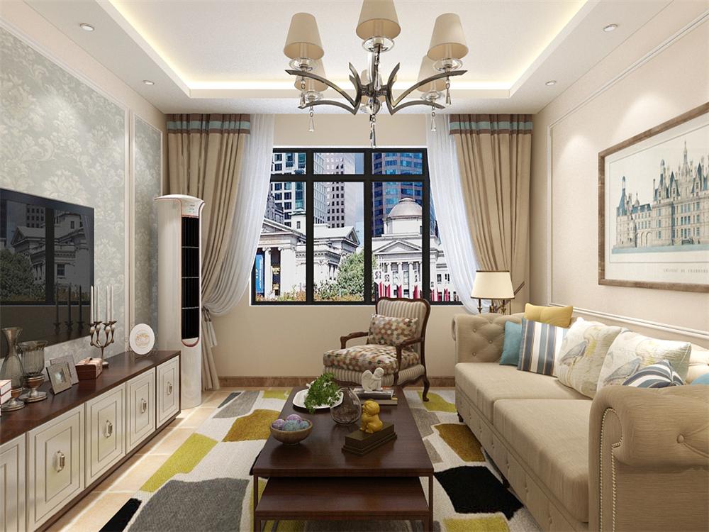 客厅的沙发背景墙并没有设计过多复杂的设计,只是圈了一个石膏线放幅装饰画,电视背景墙由石膏线圈边做了简单的造型。